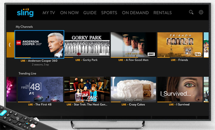 Sling TV streaming interface