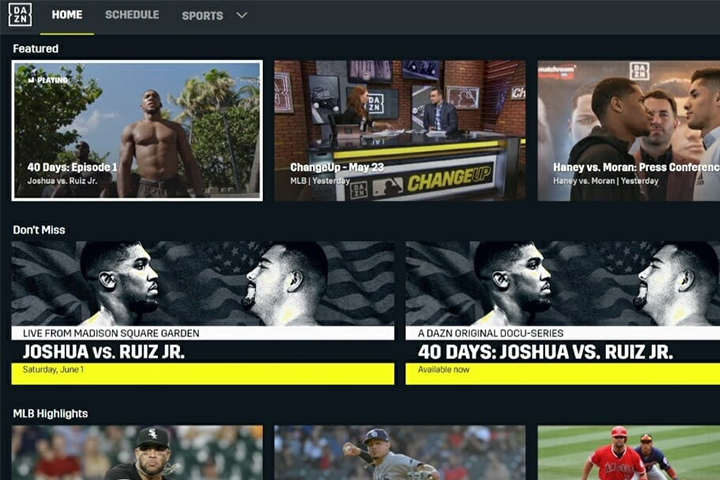 DAZN interface