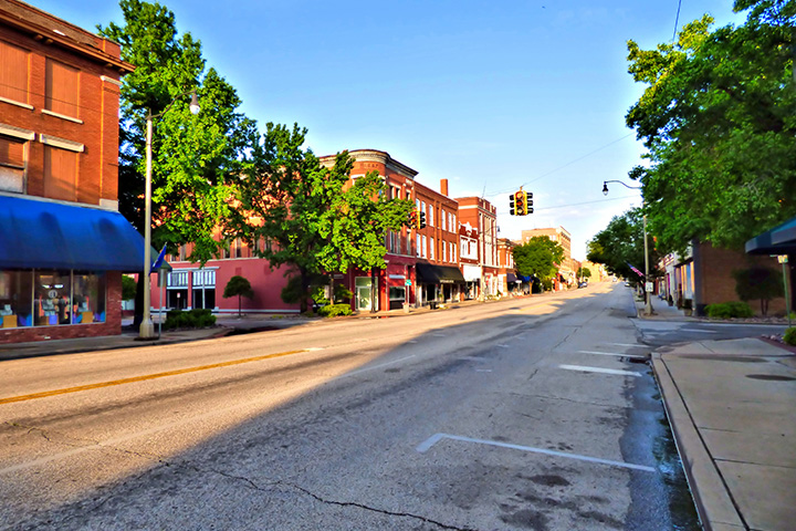Midwest city street view